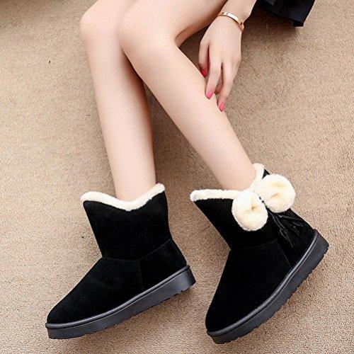 Botas Mujer,Ouneed ®Lovely Bowknot Womens Chaquetas Calientes Zapatos Botas De Nieve Zapatos De Invierno Negro