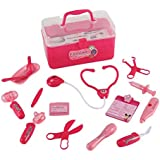 Liberty Imports Medical Box Pink Doctor Nurse Medical Kit Playset for Kids - Pretend Play Tools Toy Set
