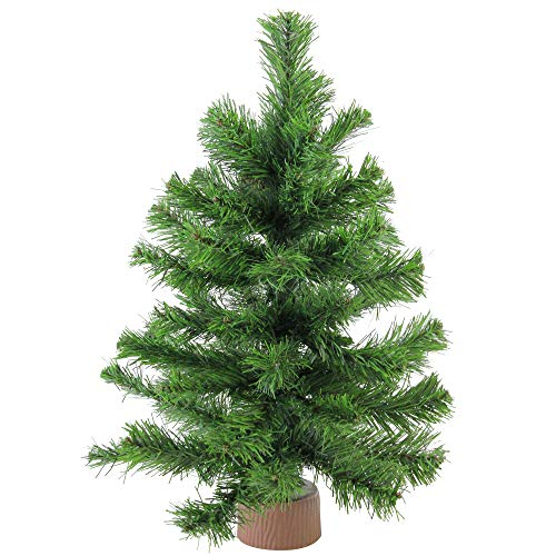 (Northlight Mini Pine Christmas Tree in Faux Wood Base, 18