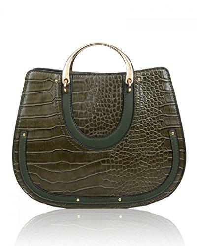 Women's BAG Croc Patent Faux Bag OLIVE LeahWard® CWS00273 Designer CWBR0264 Fashion Handbag Ladies GRAB Leather Bags Body Cross Quality Trendy Shinny Tote Print SqwqXB5