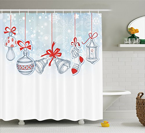 Christmas Shower Curtain Retro Decorations by Ambesonne, Vintage Style Famous Xmas Stockings for Toys and Candy Cane Bells and Snowflake Graphic, Polyester Fabric Bathroom Set with Hooks, White Red