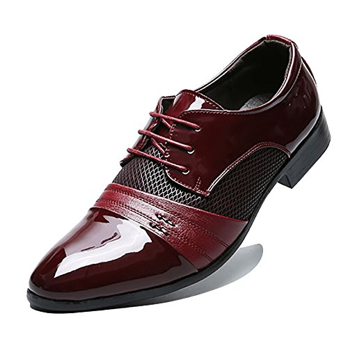 Rainlin Men's Breathable Leather Lined Perforated Dress Oxfords Shoes Wine Red US 8.5