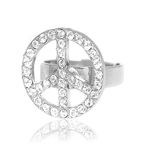 (SpinningDaisy Silver Plated Crystal Peace Sign Adjustable Ring)