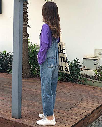Denim Pantalons ZhuiKunA Rtro Loose Femme Jeans Salopette Bleu XwqUqFI