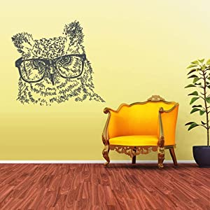 Wall Vinyl Decal Sticker Owl Hipster Glasses Sunglasses Eyewear z1660