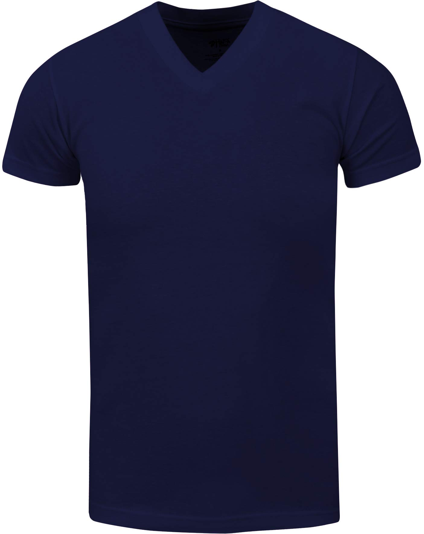 VNS03_ Active Mens Premium Cotton Heavy Weight V Neck Basic T Shirt Navy