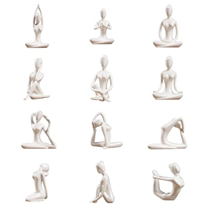 Amazon.com: Baoblaze 12x Ceramic Yoga Figure Ornament Statue ...
