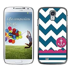 Design for Girls Plastic Cover Case FOR Samsung Galaxy S4 Sailor Seaman Ship Anchor Teal White OBBA