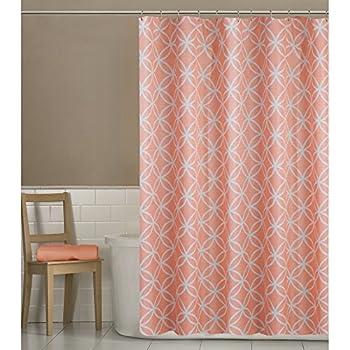 Maytex Emma Fabric Shower Curtain Coral 70 X 72 Inch Geometric