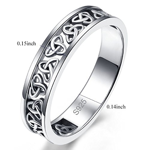 Avecon Women's Solid 925 Sterling Silver Irish Knot Design Eternity Wedding Engagement Band Stackable Ring