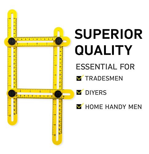 Angle-Izer Template Tool | Multi Angle Measuring Ruler for Carpenter, Handyman, Builder | Angle Measuring Tool for Cutting Tile | Angleizer DIY Tool for Home and Pro Projects by Woodruff Industries (Leveling Patio Pavers)