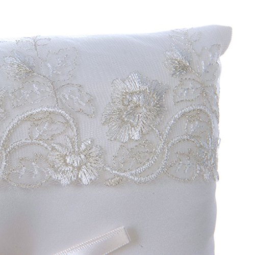 Amajoy Ivory Wedding Ring Pillow Ring Cushion with Lace Flower, 8.2 inch (21cmx 21cm) Ring Bearer for Beach Wedding, Wedding Ceremony by Amajoy (Image #3)