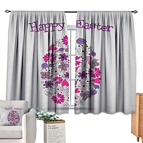 - PriceTextile Easter,Valance Curtains Spring Season Holiday Themed Illustration with Blossoming Flowers Butterflies Blackout Curtains for Bedroom W63 x G63