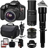 Canon EOS Rebel T6 Digital SLR Camera Kit w/ EF-S 18-55mm f/3.5-5.6 IS II + 75-300mm f/4-5.6 III + 2600mm High Definition Super Telephoto Zoom Lens + 6.5mm Aspherical Fisheye + 64GB SD + Flash + Bag