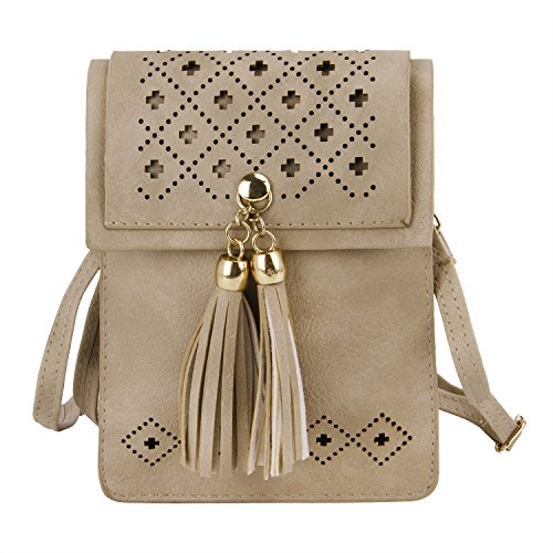 Travel Tassel Leather Deep Bag PU Crossbody Purse Beige Girls Wallet Women Card Shoulder for Cellphone Handbags Small PBnYZrqP