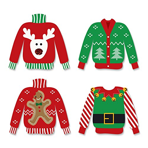 (Big Dot of Happiness Ugly Sweater - DIY Shaped Holiday & Christmas Cut-Outs - 24)
