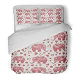 SanChic Duvet Cover Set Adorable Childish Cartoon Pattern with Doodle Elephant and Heart Valentines Design Africa Decorative Bedding Set with 2 Pillow Shams Full/Queen Size