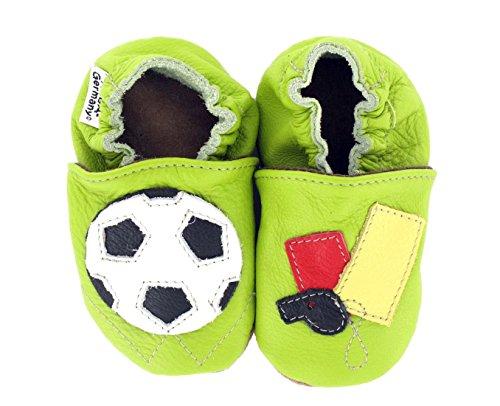 HOBEA-Germany Krabbelschuhe Fußball - Pantuflas para bebés Verde (grün)