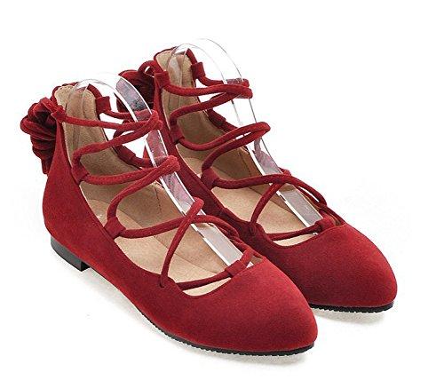 Aisun Damen Basic Spitz Zehen Low Top Flach Ballerinas mit Schnürung Rot