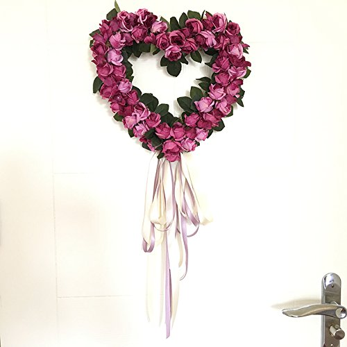 Zehui Simulation Artificial Heart-shape Rose Wreath with Silk Ribbon Hanging Sitting Room Indoor Wall Window Decoration Wedding Party Christmas Decor 11.8
