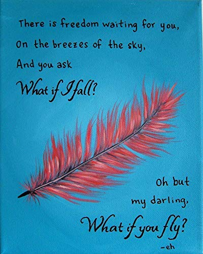 What if I Fall Oh but My Darling What if You Fly Quote Artwork Inspirational Wall Art Print 8x10 -