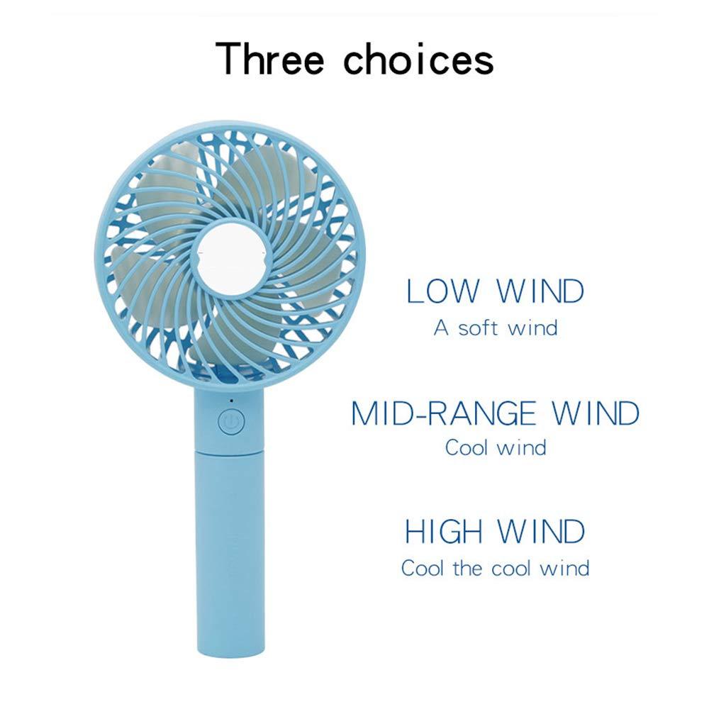 YUJJ Handheld Fan Mini USB Fan 3 Speed Adjustable USB Rechargeable Desk Fan for Travel Home Office,White
