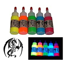 Royal Dragon Ultraviolet Tattoo Ink - 5 Color Set - Red, Yellow, Green, Blue, Orange