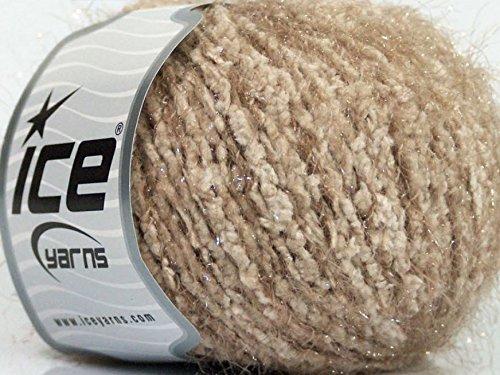 Beige Taupe Soft 'n Sparkly, Boucle and Metallic Eyelash Yarn, Nylon 50 - Boucle Nylon Yarn