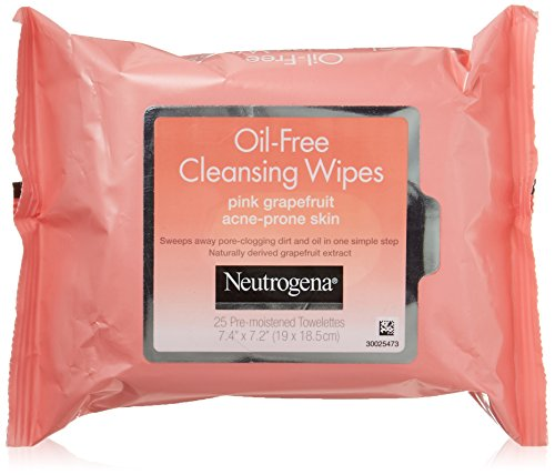 Neutrogena Oil Free Facial Cleansing Makeup Wipes with Pink Grapefruit, Disposable Acne Face Towelettes to Remove Dirt, Oil, and Makeup for Acne Prone Skin, 25 ct (Pack of 2)