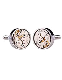 Honey Bear Cufflinks For Mens - Vintage Watch Working/Non-working Steampunk, Stainless Steel, Round