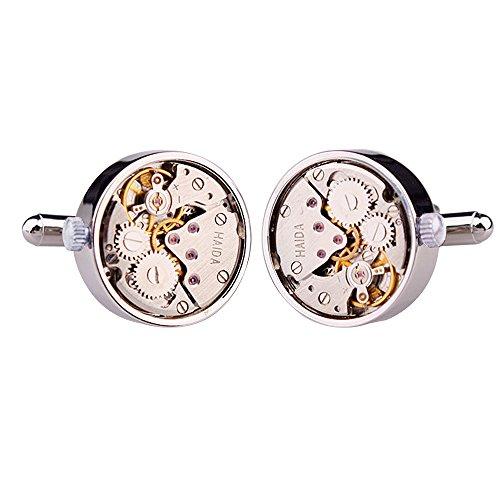 Honey Bear Cufflinks For Mens - Vintage Watch Movement Steampunk, Stainless Steel Silver