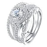 Newshe Bridal Set 2ct Round Cut White Cz 925 Sterling Silver Wedding Engagement Ring Set 5-12