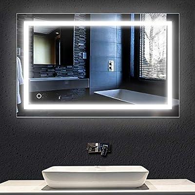 Turefans Espejo de baño,Espejo led,23W + Blanco frío (6000K) + ...