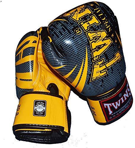 TWINS TW5 本革製ボクシンググローブ GRTW3295 黒イエロー  8oz