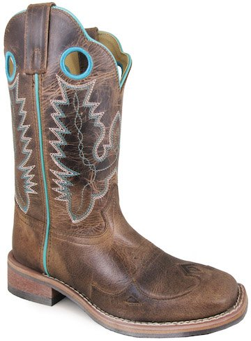 Distress Leather Western Boot (Smoky Mountain Women's Marianna Pull On Holes Stitched Design Square Toe Brown Waxed Distress Boots 10M)