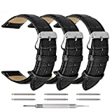 Watch Band, 20mm Watch Strap, Quick Release Leather Watch Bands with Black, Brown for Men and Women(3 Pack)