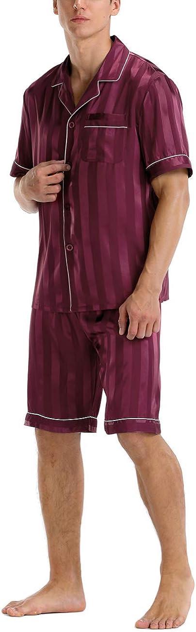 ninovino Mens Short Sleeve Satin Pajama Set Button-Down Shorts Sleepwear Loungewear Nightwear