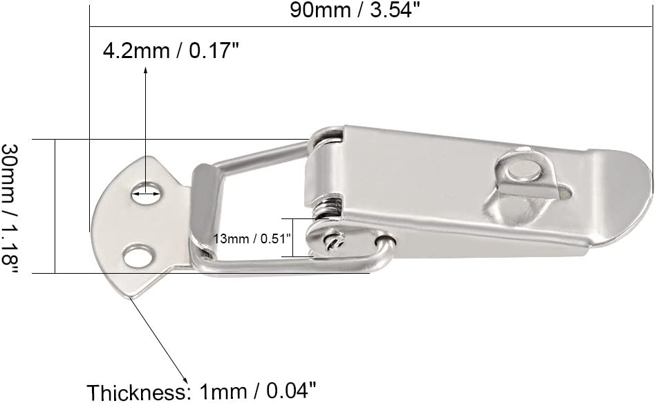 with Lock Hole uxcell Spring Loaded Toggle Latches Pack of 1 90mm Length Iron Hasps Clamps for Case Box Trunk Catches