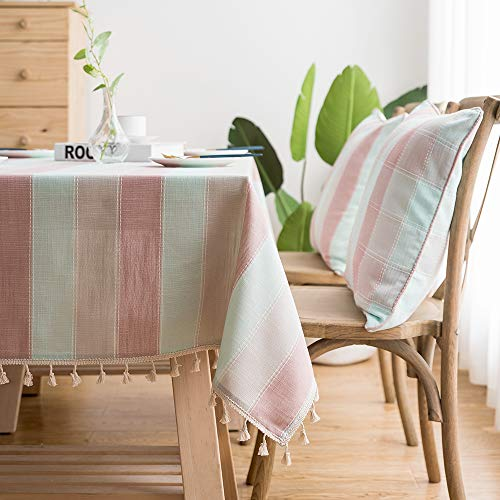 LINENLUX Striped Cotton Linen Tablecloth/Table Cover with Tassel Blue Pink Rectangle/Oblong 55 X 102 in