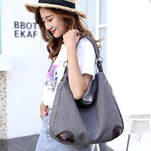 Red Totes Canvas Shoulder Travel Casual Handbag Wine Women's Lonson Bags Handle Hobo Bag CqwZtFn7Rx