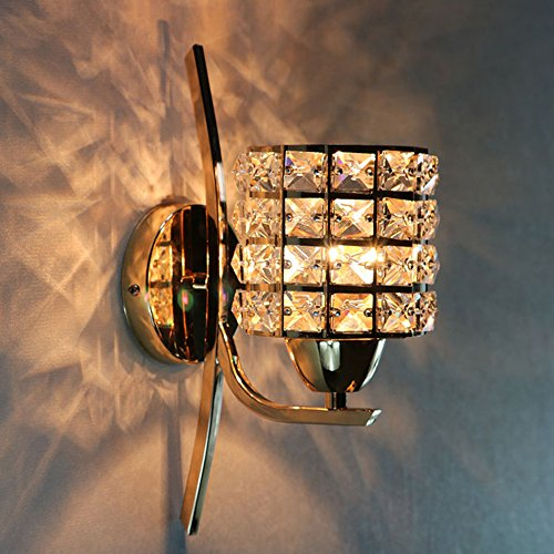 e Crystal Wall sconces,E27 Base Ruby Metal Wall lamp Bedroom Bedside Lampshade No bulb inculde 10 16 31 cm-Golden ()