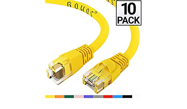 1 Pack ACL 35 Feet RJ45 Snagless//Molded Boot Yellow Cat6a Ethernet Lan Cable