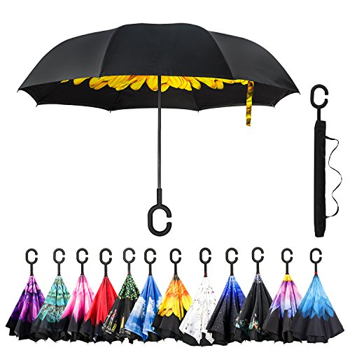 Amagoing Car Inverted Umbrella Double Layer Windproof Reverse Umbrella for Rain Sun(Yellow Chrysanthemum)