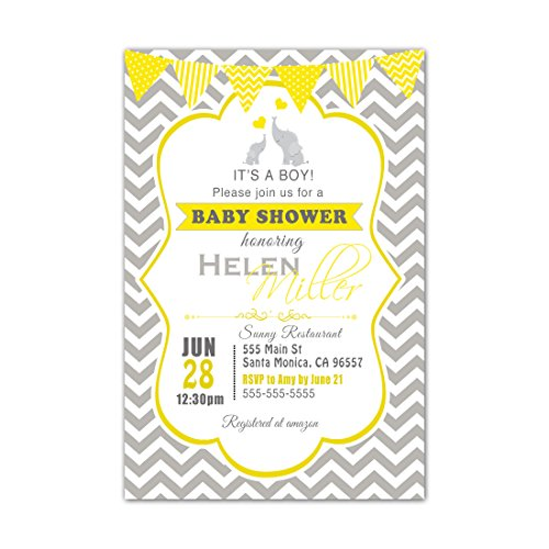 Custom Photo Baby Shower Invitations - 30 Invitations Yellow Gray Elephant Baby Shower Personalized Cards Photo Paper