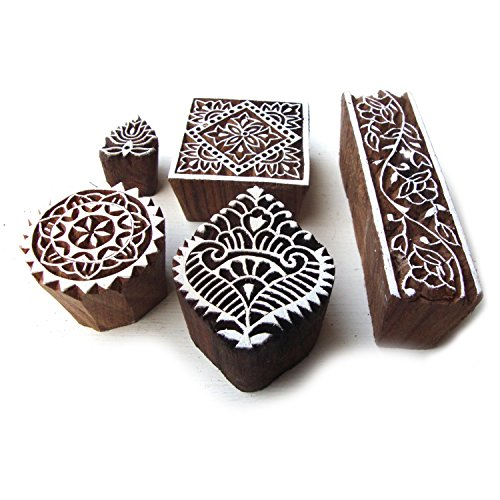hand-carved-square-and-border-pattern-wood-block-print-stamps-set-of-5