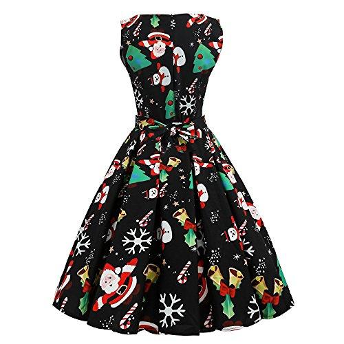2a340e05fad57a delikatny Damen Weihnachtskleid Ulanda Kleid Damen Vintage Kleid Ärmelloses  Cocktailkleid Retro Weihnachtsdruck Rockabilly Kleid Party Weihnachten