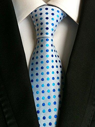 Men's Classic Blue Wave Point Tie Silk Woven Jacquard Necktie + Gift Box