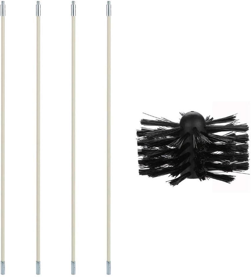 Kit de limpieza de conductos de secadora, caldera de chimenea Cepillo de nylon Cepillo de limpieza de tubería flexible para limpiar la pared interior tubular de la chimenea (4 varillas)