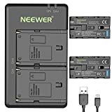 Neewer 2-Pack 6600mAh Li-ion Replacement Battery with USB Charger for Sony NP-F550 570 750 770 970 960 975,Sony Handycams,NW CN160 CN-216 LED Light,NW 759 74K 760 Feelworld,759 74K 760 Field Monitor