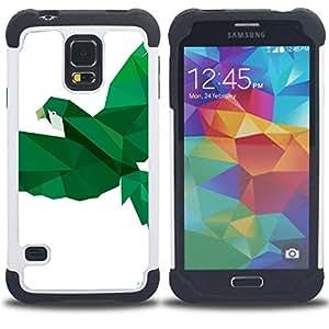 """SAMSUNG Galaxy S5 V / i9600 / SM-G900 - 3 en 1 impreso colorido de Altas Prestaciones PC Funda chaqueta Negro cubierta gel silicona suave (Loro Pájaro Blanco Verde Vuelo"""")"""